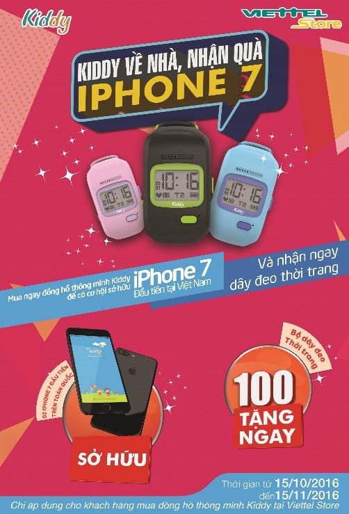 Cơ hội trúng iPhone 7 khi mua đồng hồ thông minh Kiddy 1